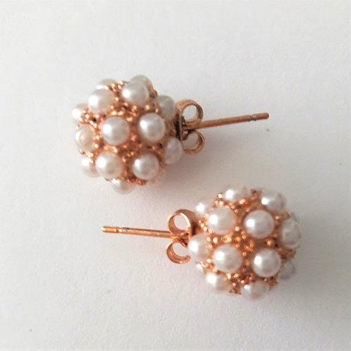 Rose Gold Plated Pearl Bundle Stud Earrings