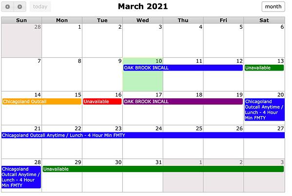 Chicago Heather Riley March 2021 Schedul