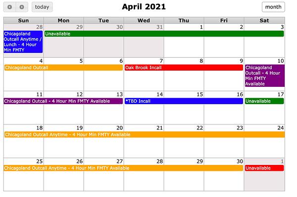Chicago Heather Riley April 2021 Schedul