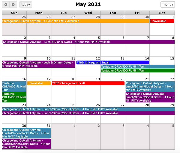 Chicago Heather Riley May 2021 Schedule.