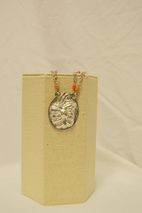 Hammered Silver Coral Necklace