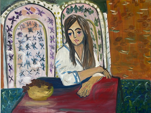 Woman Sitting with Grapes