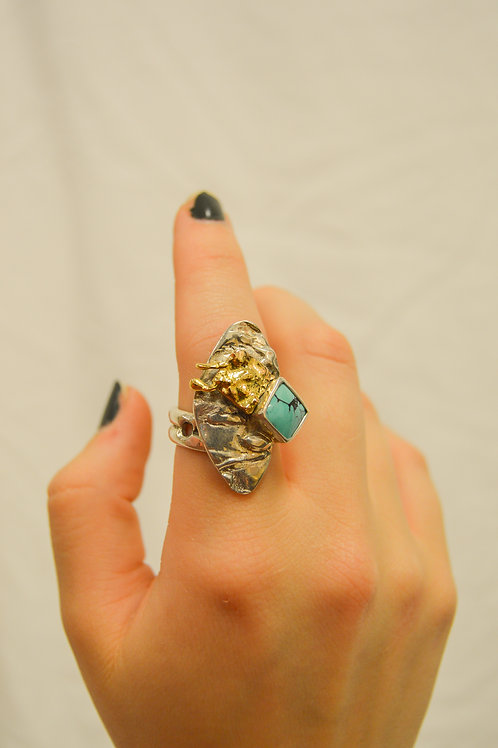 Silver, Turquoise and Gold Ring