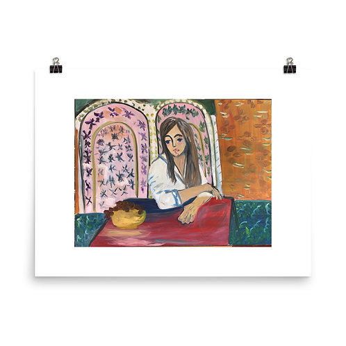 Woman Sitting With Grapes Print