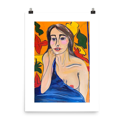 Woman with Blue Blanket Print