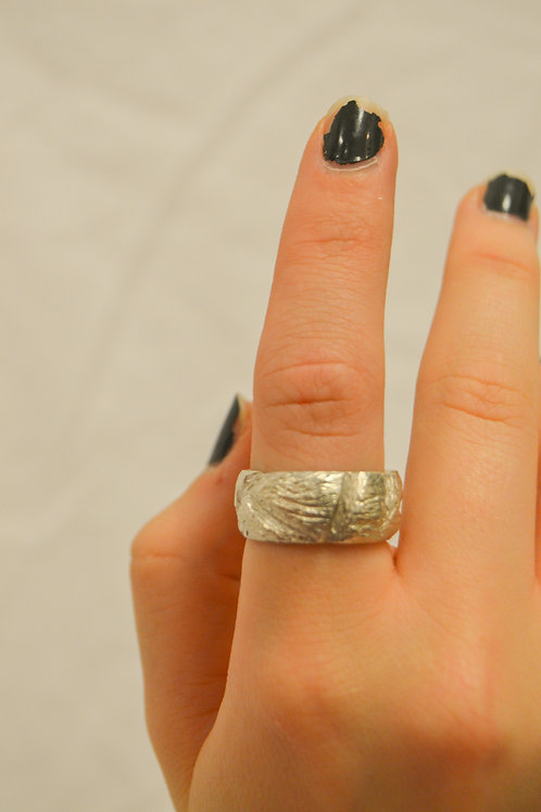 Silver Cast Band Ring
