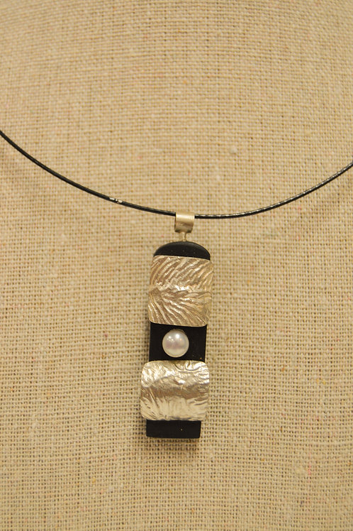 Ebony, Silver and Mother of Pearl Necklace