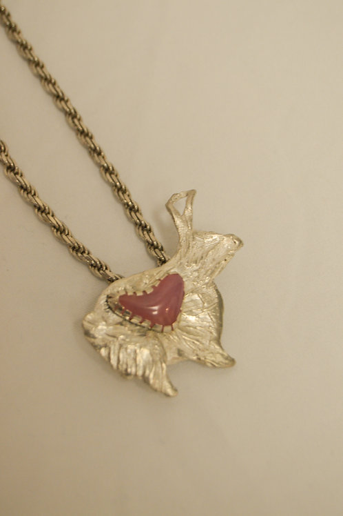 Silver and Pink Tourmaline Rabbit Pendant