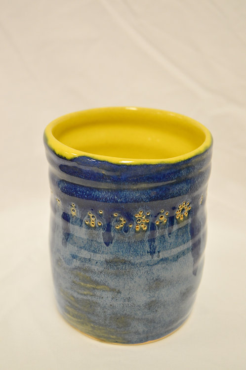 Yellow and Blue Floral Vase
