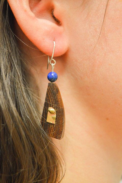 Wooden Earrings (Lapis, Sterling, Bronze)