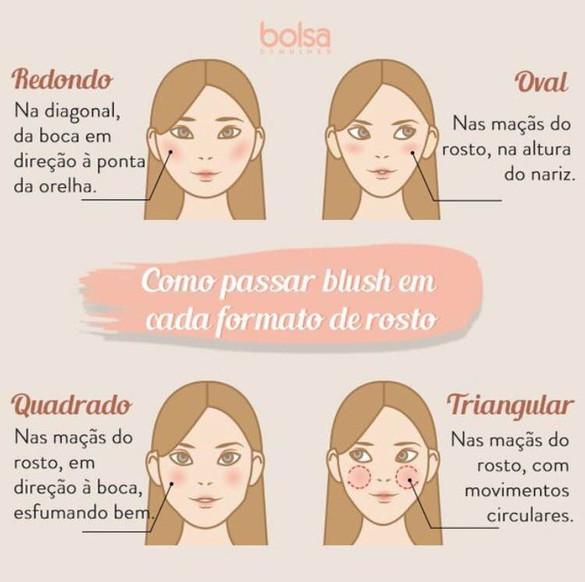 Como passar Blush em cada formato de rosto!