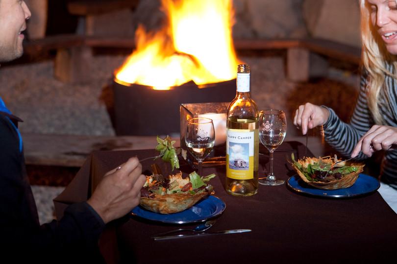 Dinner around a fire