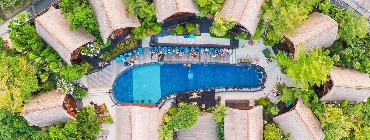 Bali Surf Yoga Retreat Adult Pool Arial.