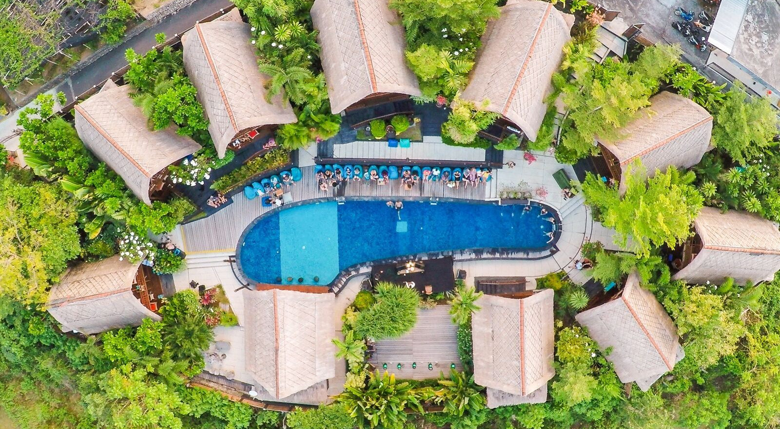 Bali Surf Yoga Retreat Adult Pool Arial.