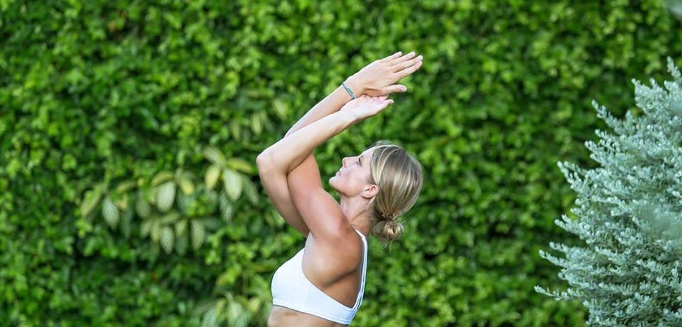 Yoga Teacher Crescent Lunge Pose Outdoor