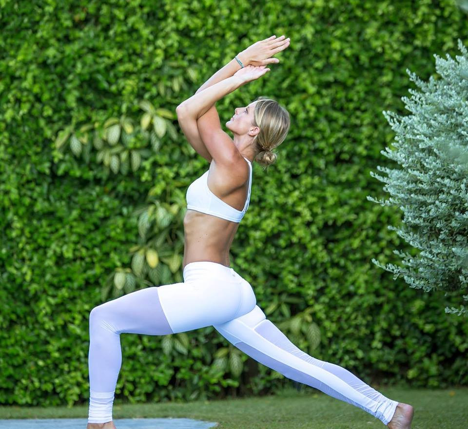 Yoga Teacher Crescent Lunge Pose Outdoor
