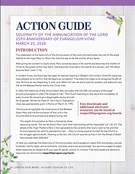 March 2020 Action Guide: Annunciation / 25th Anniversary of Evangelium vitae