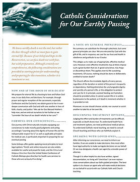 Catholic Considerations for Our Earthly