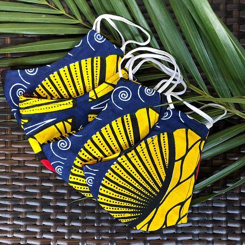 African Wax Print/Kitenge Face Mask (Blue/Yellow)