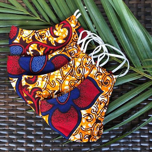 African Wax Print/Kitenge Face Mask (Red/Blue/Orange)