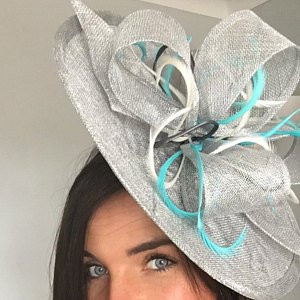 33065f53 ... silver, turquoise hatinator with sinamay loops, Ascot hat ...