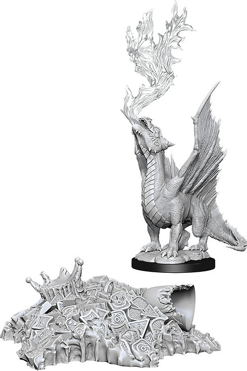 D&D Unpainted Miniatures: W11 Gold Dragon Wyrmling & Small Treasure Pile