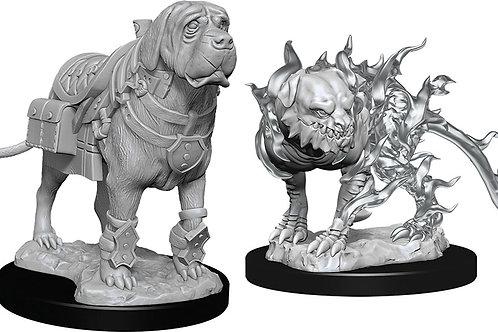 D&D  Unpainted Miniatures: W11 Mastif & Shadow Mastif