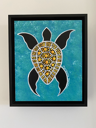 Luck & Longevity (turtle) - 10x12  inches (framed)
