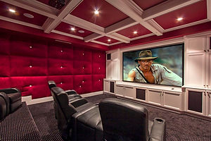 Complete Home Theater Installation with Sony projector, Recessed lighting, Architectural Speakers with 7.1 Surround Sound.