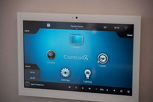 Control-4 In-Wall Touch Screen displaying the home's options for home automation