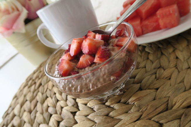 Chocolate and Strawberry Chia Seed Pudding