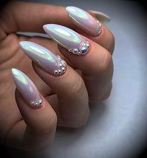 Unicorn chrome nail design iridecent nail art