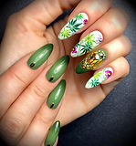 ombre nail art handpainted flowers swarovski nail