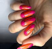 pink and orange natural nails art deco nail design