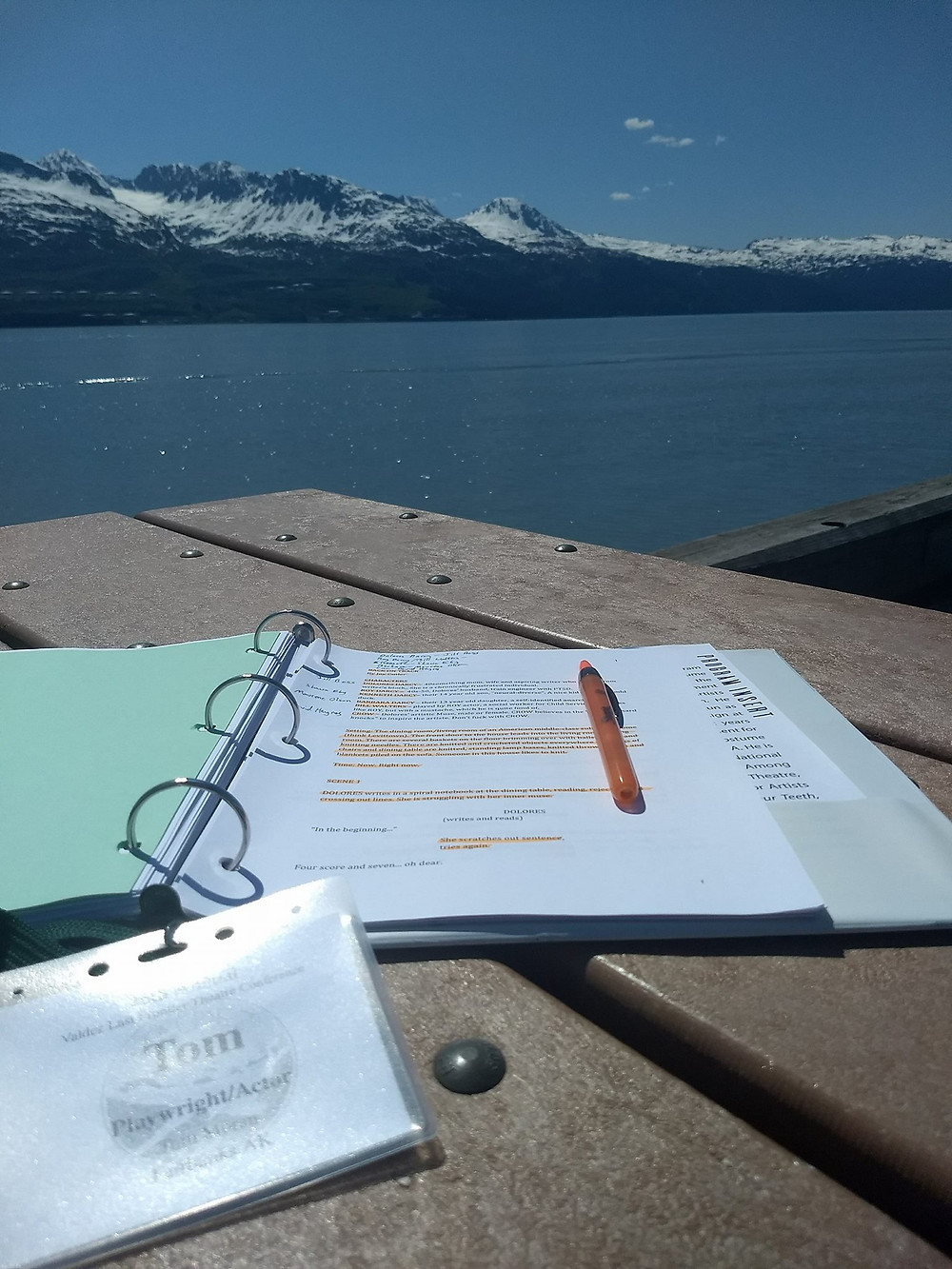 Marking up one of my playscripts on the dock near the conference, Valdez, Alaska
