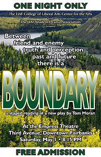 "Poster for the play ""Boundary,"" a full-length psychological drama set in the Alaskan wilderness"