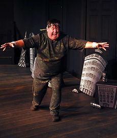 "David Haynes stars as Godzilla in ""The Big Guy,"" an imaginative and destructive one-man show by Alaskan playwright Tom Moran."