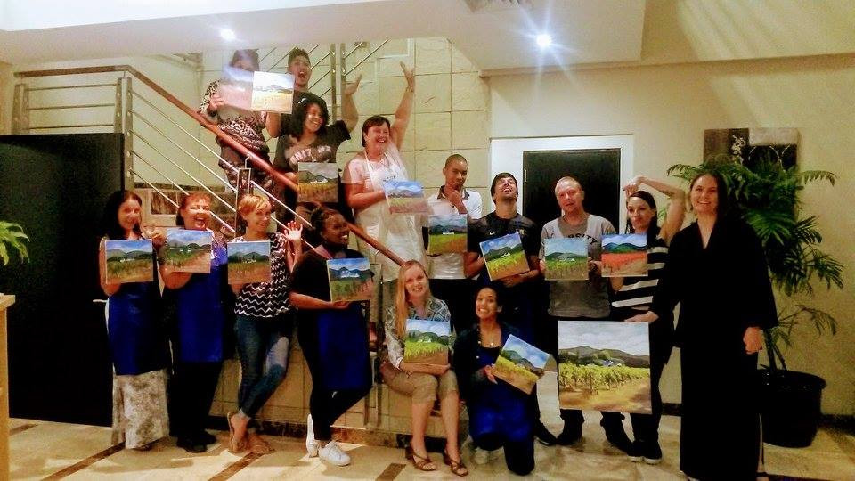 Paint, Food, Meal, Wine, Art, Lesson, Creative, Artist, Artist Empowerment and Development, Team, Event, Team Build, Occasion, Fundraiser, Corporate Social Responsibility (CSR), NGO, Call 2 Care, Cape Town, Fun