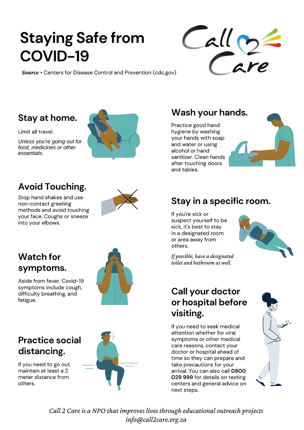 Staying Safe from COVID-19 South Africa Infographic Poster based on the recommendations from the Center of Disease Control and Prevention