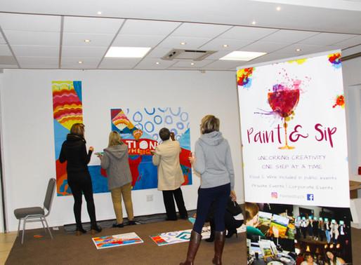 Evolve | Abbotts Laboratories team on Paint & Sip Collaboration Station