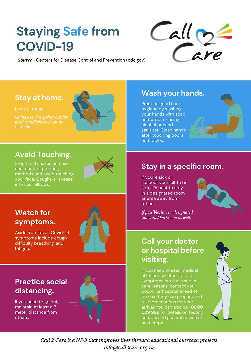 Staying Safe from COVID-19 South Africa Infographic Poster based on the recommendations from the Centers of Disease Control and Prevention