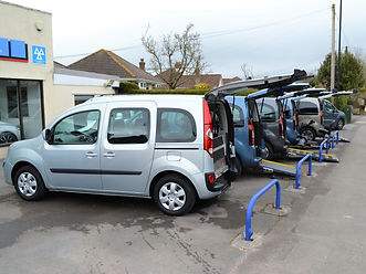 A selection of used Wheelchair Cars on the forecourt of WAV Southwest