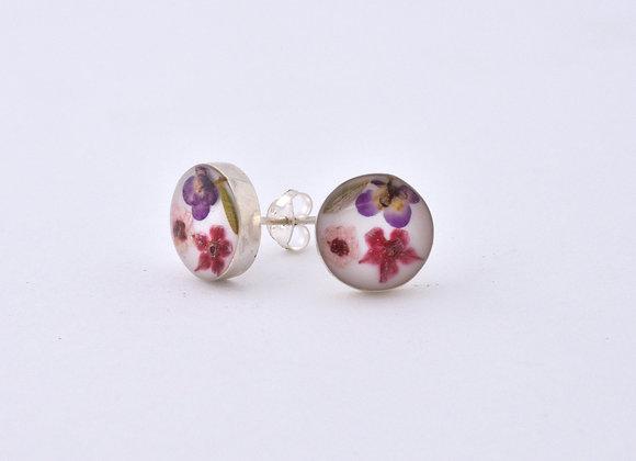White Round Stud Earrings