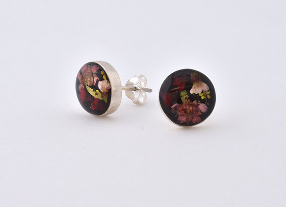 Black Round Stud Earrings
