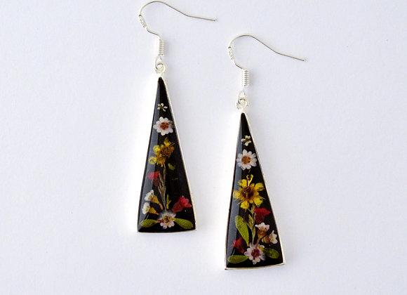 Black Flat Drop Earrings