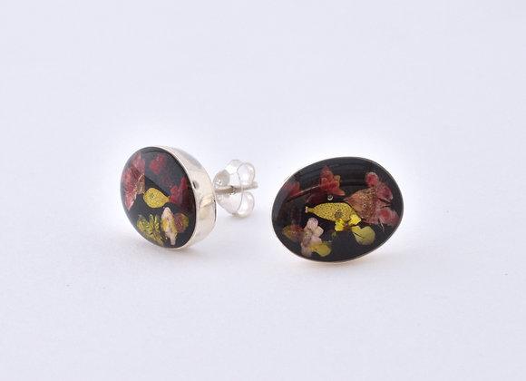 Black Oval Stud Earrings