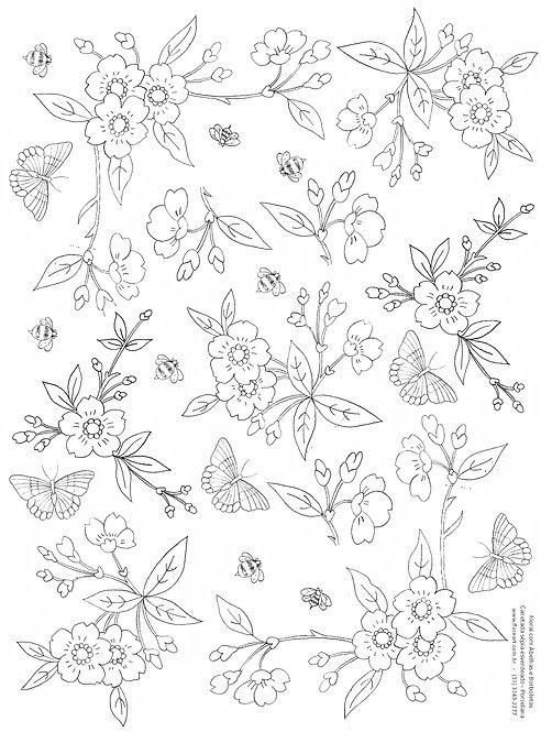Decalque Contorno Floral com Abelhas e Borboletas