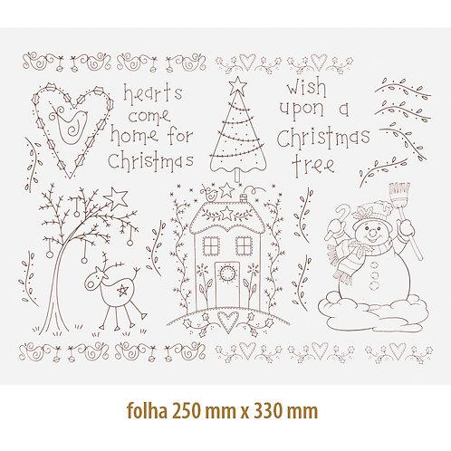 Decalque Contorno Natal Country 02 - SÉPIA