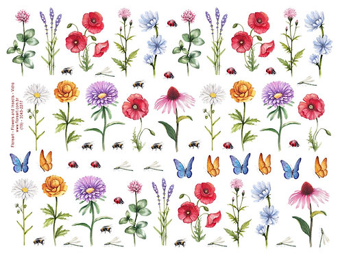 Flowers and Insects - Colorido para Vidro