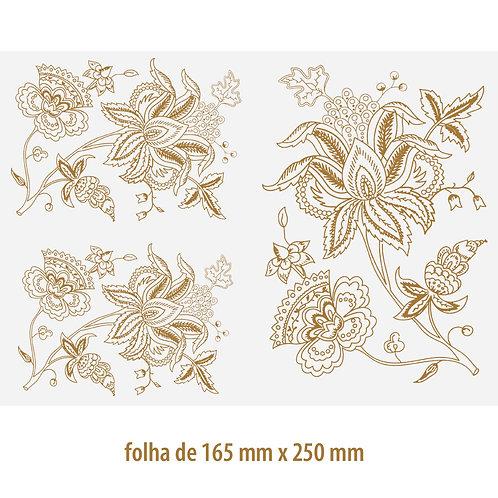 Decalque em Ouro Flor 08